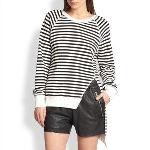 OAK NYC Striped Asymmetrical Split Sweater Slit